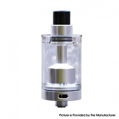 Authentic Auguse V1.5 MTL RTA Rebuildable Tank Vape Atomizer w/ 5 Airflow Inserts - Silver, Stainless Steel, 4ml, 22mm Diameter