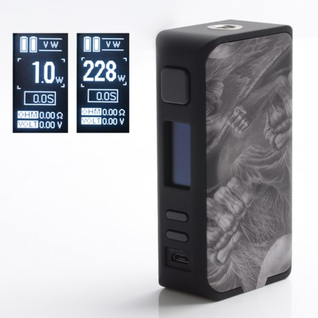 Authentic Rincoe Manto Pro 228W TC VW Variable Wattage Vape Box Mod - Dead Skull, 1~228W, 200~600'F, 2 x 18650