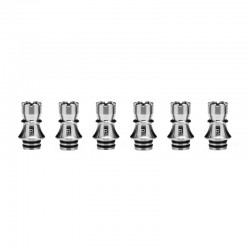 Authentic KIZOKU Chess Series Replacement 510 Drip Tip for RDA / RTA/ RDTA /Sub-Ohm Tank Atomizer - Silver, Rook, 22.3mm (6 PCS)