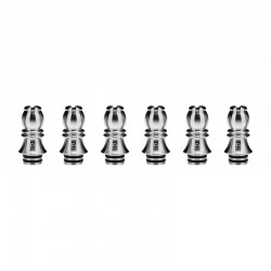 Authentic KIZOKU Chess Series Replacement 510 Drip Tip for RDA /RTA/RDTA/Sub-Ohm Tank Atomizer - Silver, Bishop, 26.73mm (6 PCS)