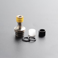 Daruma Slit2 Style Long Hybrid 510 Drip Tip Set for RDA / RTA / RDTA Atomizer - Silver + Black + White + Brown, SS + POM + PEI