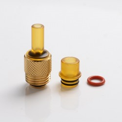 Across Intan Grip Style Base + MTL / DL Drip Tip Kit for SXK BB / Billet Vape Box Mod Kit - Gold + Brown, Stainless Steel + PC
