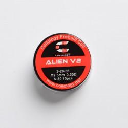 Authentic Coilology Alien V2 Ni80 Prebuilt Coil Wire for RBA / RDA / RTA / RDTA - Ni80, 3 x 28/36 Gauge, 0.3ohm, 2.5mm (10 PCS)