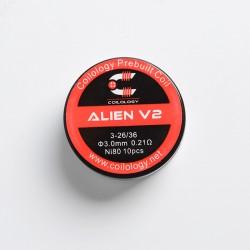 Authentic Coilology Alien V2 Ni80 Prebuilt Coil Wire for RBA / RDA / RTA / RDTA - Ni80, 3 x 26/36 Gauge, 0.21ohm, 3mm (10 PCS)