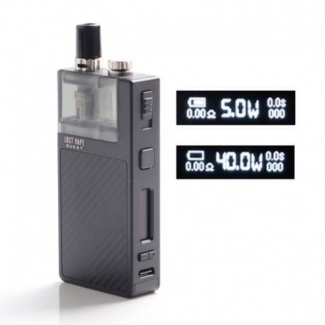 Authentic Lost Vape Q Ultra AIO 40W 1600mAh VW Pod System MTL / DL Vape Starter Kit - Carbon Fiber Black,0.6ohm, 4ml, 5~40W