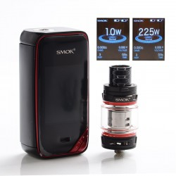 Authentic SMOKTech SMOK X-Priv 225W TC VW Box Vape Mod + TFV12 Prince Standard Kit - Black Red, 8ml, 1~225W, 2 x 18650