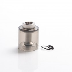 Steam Tuners Style Bell Cap + Chimney for Flash e-Vapor E-Vapor V4.5 Style RTA - Transparent Black, PC + SS, 23mm Diameter