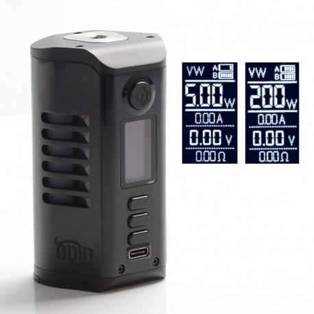 Authentic Dovpo Odin 200 200W TC VV VW Box Mod - Black, Aluminum Alloy + Zinc Alloy, 5~200W, 200~600'F, 2 x 20700 / 21700