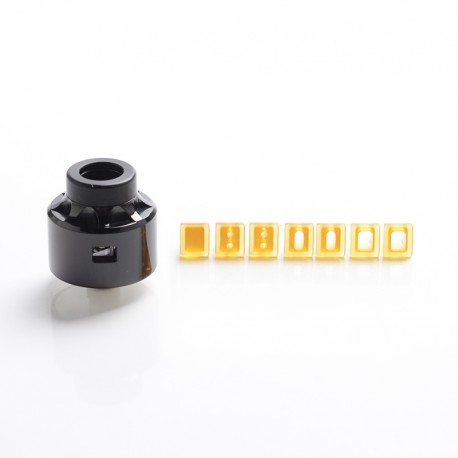 Vapeasy Vauban V1.5 Style BF RDA Rebuildable Dripping Atomizer w/ 7 Air Duct Insert - Black, 316SS, 22mm Diameter, 1:1 Version