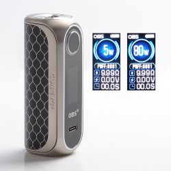 Authentic OBS Cube FP Fingerprint Unlock 80W VW Vape Box Mod - Silver Black, Zinc Alloy + 3D Curved Glass, 5~80W, 1 x 18650