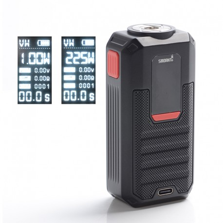 Authentic Smoant Ladon 225W TC VW Variable Wattage Vape Box Mod - Black, 1~225W, 100~300'C / 200~600'F, 2 x 18650