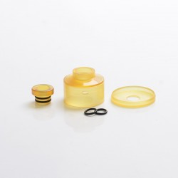 Slam Style Replacement Cap + Beauty Ring + 510 Drip Tip for Narda Style RDA - Brown, PEI