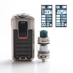 Authentic Smoant Ladon 225W TC VW Vape Box Mod + AIO 2in1 Tank Vape Kit - Silver, 1~225W, 100~300'C / 200~600'F, 2 x 18650