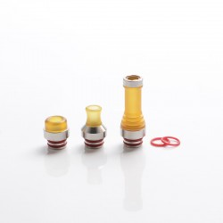 Hussar Style GR Tip Straight + MTL DT R + DT Long 510 Drip Tip Set for RDA/RTA/RDTA/Sub-Ohm Tank - Brown + Silver (3 PCS)