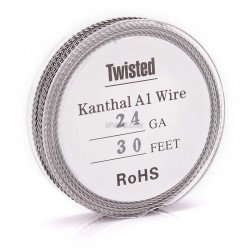 Authentic Kanthal A1 24 AWG x 2 Twisted Heating Wire for RBA / RDA / RTA - Silver,0.5mm x 10m