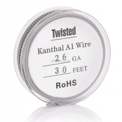 Authentic Kanthal A1 26 AWG x 2 Twisted Heating Wire for RBA / RDA / RTA - Silver, 0.4mm x 10m