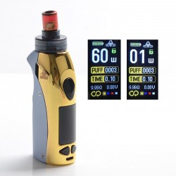 Authentic Kangvape Anarchist 60W 1500mAh MTL / DTL VW Box Mod Pod System Vape Starter Kit - Golden, 0.4ohm / 1.2ohm, 1~60W