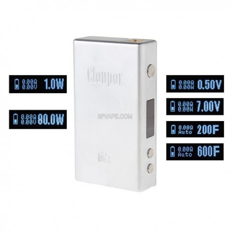 Authentic Cloupor GT Temperature Control VV / VW Variable Voltage / Wattage Box Mod - Silver, 0.5~7V, 1~80W, 2 x 18650