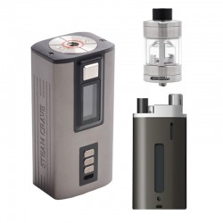 Authentic Steam Crave Hardon 220W TC VW Vape Box Mod Kit w/ Squonk Backpack + Glaz V2 RTA - Gun Metal + Silver, 2 x 18650/21700