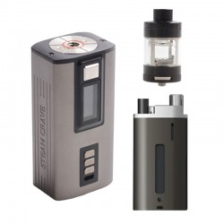 Authentic Steam Crave Hardon 220W TC VW Vape Box Mod Kit w/ Squonk Backpack + Glaz V2 RTA - Gun Metal + Black, 2 x 18650 / 21700