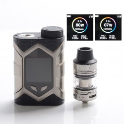 Authentic Vaptio Wall Crawler 80W TC VW Mod Vape Starter Kit w/ Frogman Tank - Black + SS, 5ml, 200~600'F, 7~80W, 1 x 18650