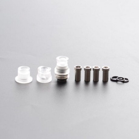 SXK Mission Tips Integrated Whistle Style Drip Tip Mouthpiece + Base for SXK BB Box Mod - Transparent, 20x13mm + 18x15mm+18x13mm