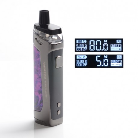 Authentic Vaporesso TARGET PM80 SE 80W VW Box Mod Pod System Vape Starter Kit - Purple, 4.0ml, 0.2ohm / 0.6ohm, 5~80W, 1 x 18650