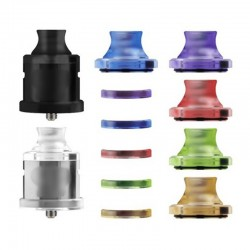 Nio Style Dripper RDA / RSA Kit with 5 Spare Colorful Top Caps & 510 Drip Tips & Beauty Rings - Silver + Black, 22mm Dia.