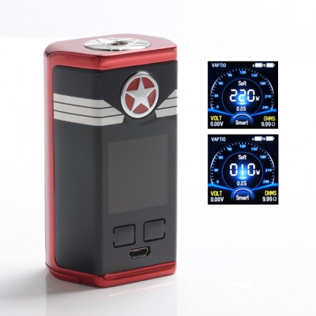 Authentic Vaptio Capt'n 220W TC VW Variable Wattage Vape Box Mod - Red, Zinc Alloy + IML Panel, 10~220W, 2 x 18650
