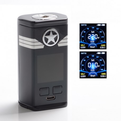 Authentic Vaptio Capt'n 220W TC VW Variable Wattage Vape Box Mod - Black, Zinc Alloy + IML Panel, 10~220W, 2 x 18650