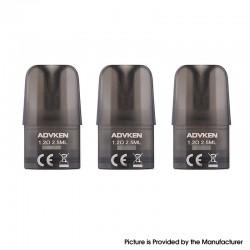 Authentic Advken Potento Pod System Vape Kit Replacement Cartridge with 1.2ohm Cotton Coil - Black, PCTG, 2.5ml (3 PCS)