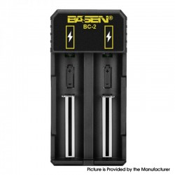 Authentic Basen BC-2 Dual-Slot USB Charger for 18650 / 18700 / 20700 / 21700 / 22700 / 25500 / 26650 / 26700 Batteries, etc.