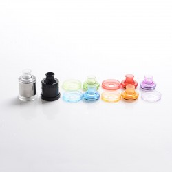 Nio Style Dripper RDA / RSA Kit with 5 Spare Colorful Top Caps & 510 Drip Tips & Beauty Rings - Silver + Black, 21mm Dia.