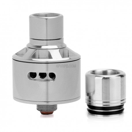 Stumpy Style RDA Rebuildable Dripping Atomizer - Silver, Stainless Steel, 22mm Diameter