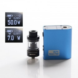 Authentic Vape Mater X50T 50W 2500mAh VW Variable Wattage + Clearomizer Atomizer Vape Kit - Black + Blue, 7~50W, 2.5ml, 0.5ohm