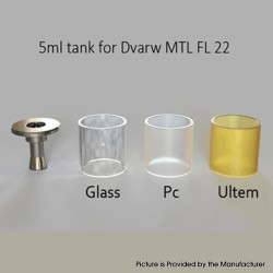 SXK Dvarw MTL FL Facelift 22mm RTA Replacement Stainless Steel Top Cap + PC + Glass + PEI Tank Tube Kit - 5ml