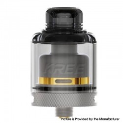 Authentic GAS Mods Kree 24 RTA Rebuildable Tank Vape Atomizer w/ 4 Airflow Inserts - Gray, SS + PMMA, 5.5ml, 24mm Diameter