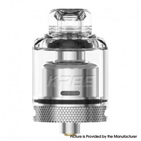 Authentic GAS Mods Kree 24 RTA Rebuildable Tank Vape Atomizer w/ 4 Airflow Inserts - Silver, SS + Glass, 5.5ml, 24mm Diameter