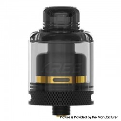 Authentic GAS Mods Kree 24 RTA Rebuildable Tank Vape Atomizer w/ 4 Airflow Inserts - Black, SS + PMMA, 5.5ml, 24mm Diameter