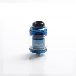 Authentic GeekVape Zeus X Mesh RTA Rebuildable Tank Vape Atomizer - Blue, SS + Glass, 4.5ml, 0.17ohm / 0.20ohm, 26mm Diameter