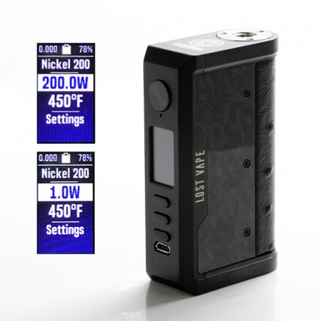 Authentic Lost Vape Centaurus DNA 250C 200W TC VW Vape Mod - Black/Ostrich-Chopped Carbon Fiber, 2 x 18650, 1~200W, 200~600'F