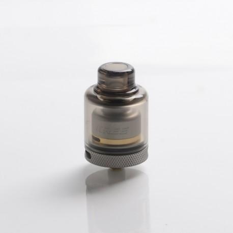 Authentic GAS Mods Kree 24 RTA Rebuildable Tank Vape Atomizer w/ 4 Airflow Inserts - Gray, SS + PMMA, 5.5ml, 24mm Diameter