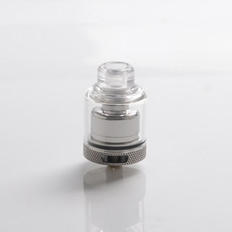 Authentic GAS Mods Kree 24 RTA Rebuildable Tank Vape Atomizer w/ 4 Airflow Inserts - Silver, SS + Glass, 5.5ml, 24mm Diameter