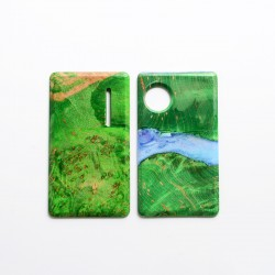 SXK Replacement Front + Back Door Panel Plates for dotMod dotAIO Vape Pod System - Green, Stabilized Wood (2 PCS)
