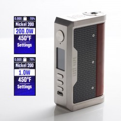 Authentic Lost Vape Centaurus DNA 250C 200W TC VW Vape Box Mod - SS/Cowhide Tactile Carbon Fiber, 2 x 18650, 1~200W, 200~600'F
