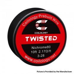 Authentic Coilology Ni80 Twisted Spool Wire for RDA / RTA / RDTA Vape RBA Atomizer - 3-28 GA, 2.17ohm 10FT (3m)
