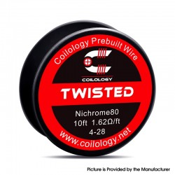 Authentic Coilology Ni80 Twisted Spool Wire for RDA / RTA / RDTA Vape RBA Atomizer - 4-28 GA, 1.63ohm 10FT (3m)