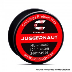 Authentic Coilology Ni80 Juggernaut Spool Wire for RDA / RTA / RDTA Vape RBA - 2-26 GA / 0.1 x 0.4 / 2-36 GA, 1.46ohm 10FT (3m)