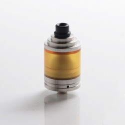 SXK Small Blind Style MTL RTA Rebuildable Tank Vape Atomizer - Silver, 316 Stainless Steel + PEI, 22mm Diameter, 2.0ml