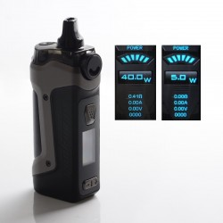 Authentic GeekVape Aegis Boost Plus 40W TC VW Mod Pod System Vape Starter Kit - Gun Metal, 5.5ml, 5~40W, 200~600'F, 1 x 18650